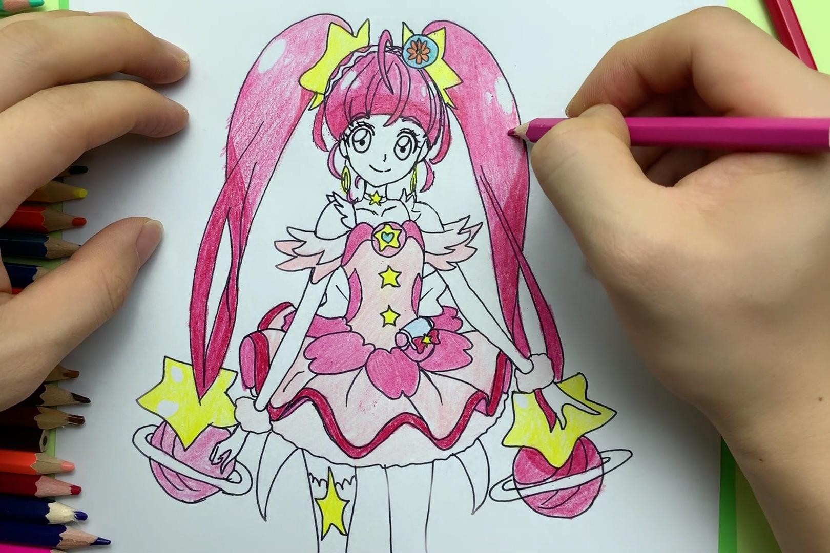 手绘光之美少女星奈光简笔画,这是变身后的装扮哦