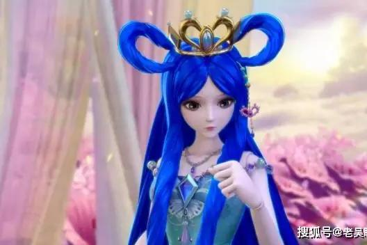 当叶罗丽仙子染成蓝色头发,罗丽美丽动人,白光莹辣眼睛图片