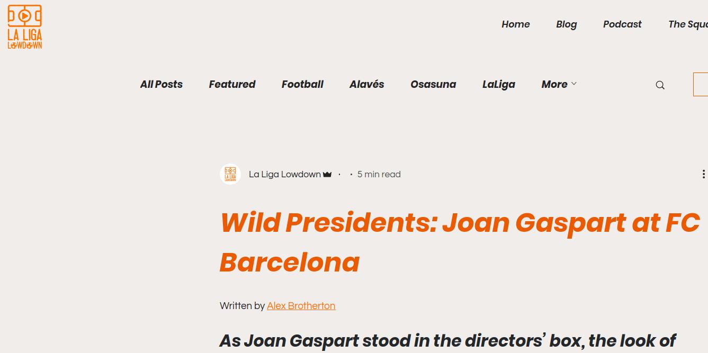 外媒:狂野主席——巴塞罗那足球俱乐部时