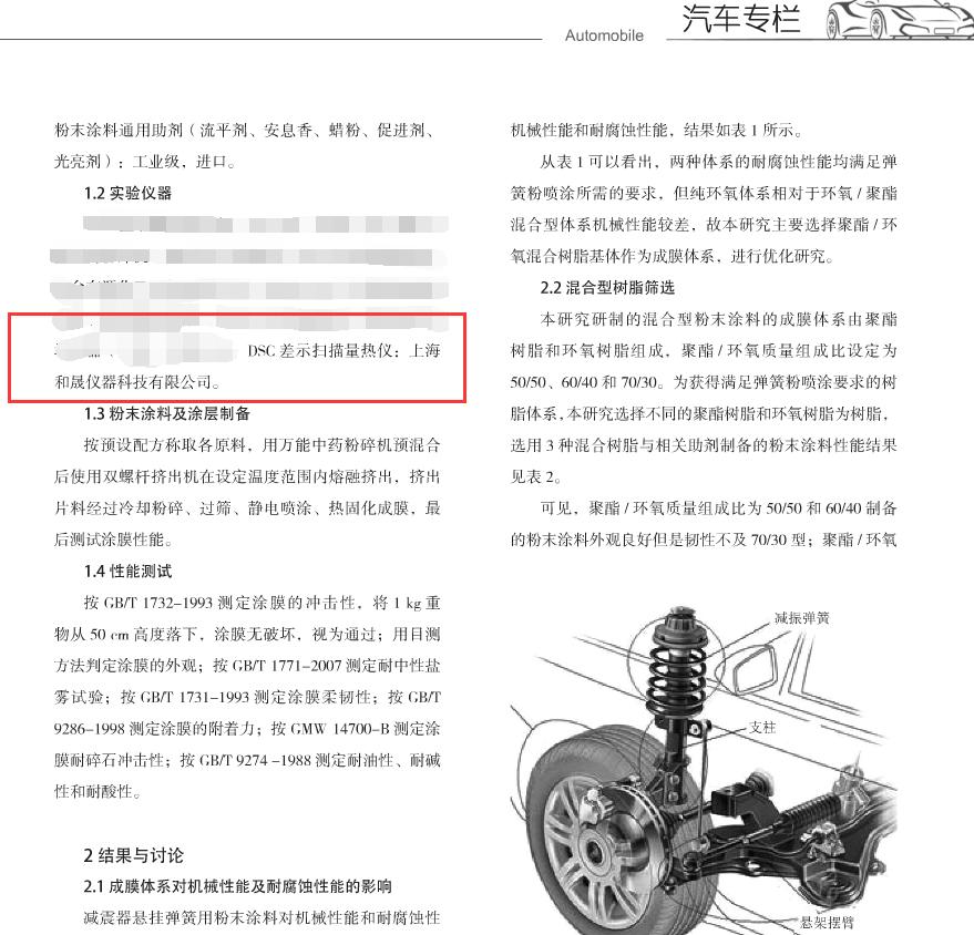 汽车减震器悬挂弹簧用粉末涂料的研制