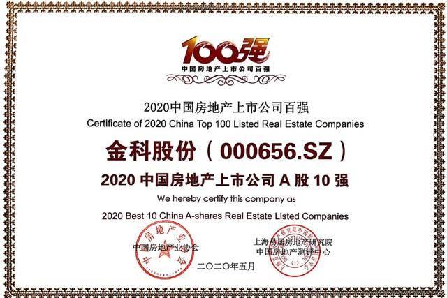 2020中国房地产上市公司测评成果发布,金科连续7年稳居A股10强