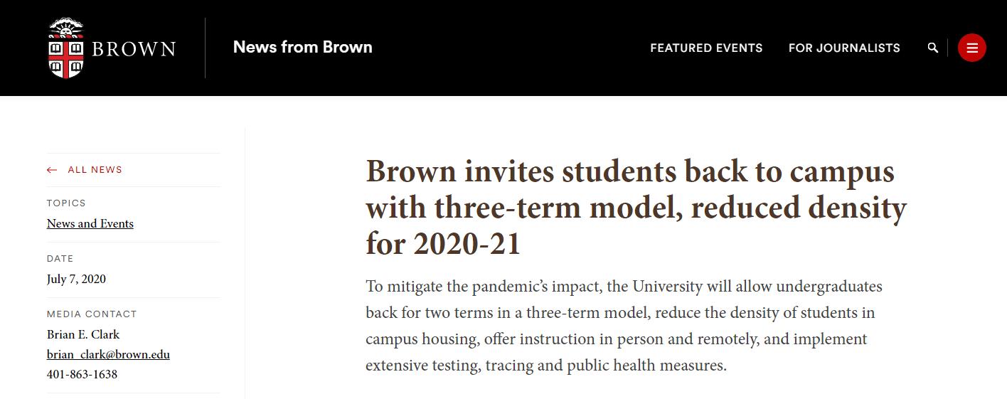 布朗大学公布返校最新措施:2020学年改为三学期制!