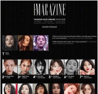 亚洲最时尚女星面孔,倪妮排名第一,钟楚曦第二,这才是高级脸
