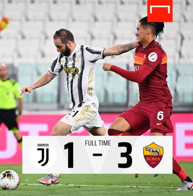 意甲末轮,尤文1-3不敌罗马