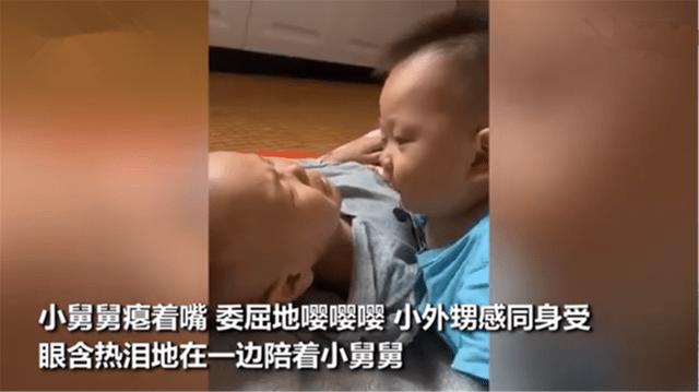 """小舅舅睡醒没找到妈妈急哭,外甥眼含热泪""""婴语""""安抚:我懂你"""