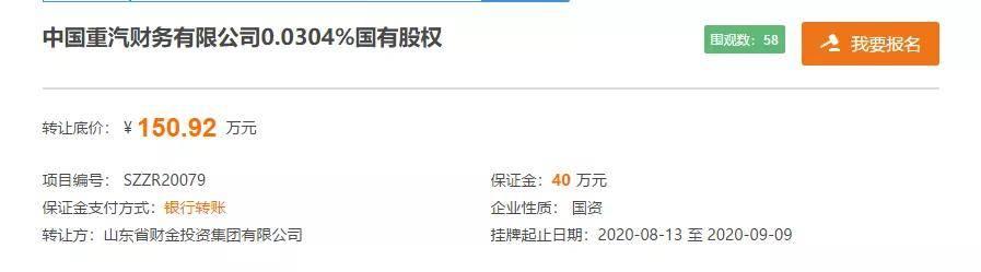 150.92万元清持股权!山东财金投资集团欲退出中