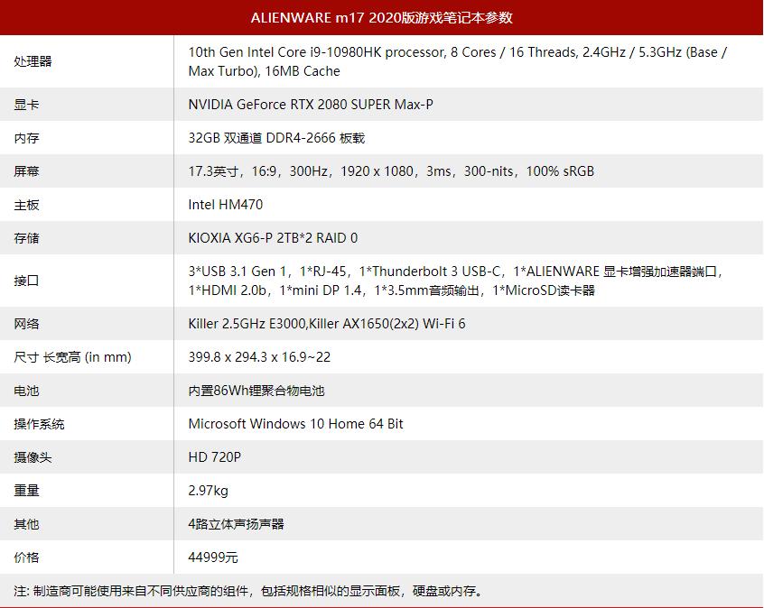 Alienware M17 2020版本17.3英寸游戏手册 dd37
