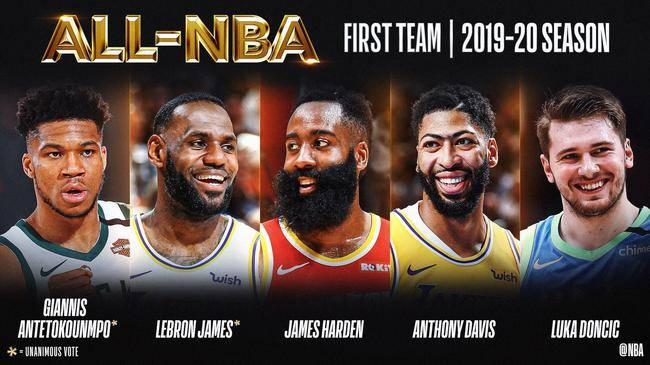 NBA于9月9日正式公布了本赛季最佳球队
