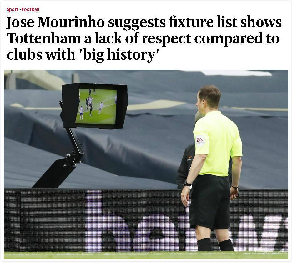 对手两次手球VAR都不看 穆里尼奥怒了:这就是热刺得到的尊重!