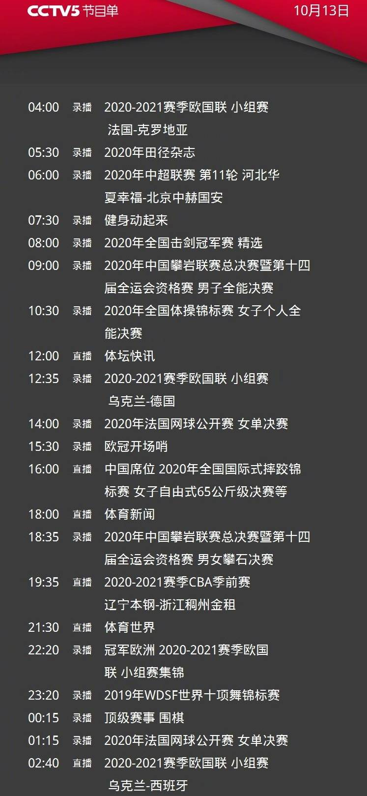 央视今日节目单,CCTV5直播CBA季前赛辽篮VS浙江+欧国联西班牙PK乌克兰