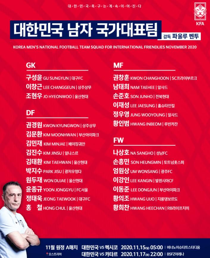韩国男足集训名单