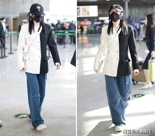 原创             张韶涵太会穿了,穿拼色西装配阔腿裤,158身高穿出168感觉