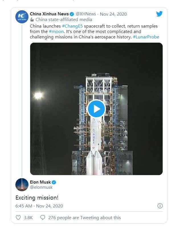 【马斯克点赞嫦娥五号发射新闻:令人兴奋的任务】