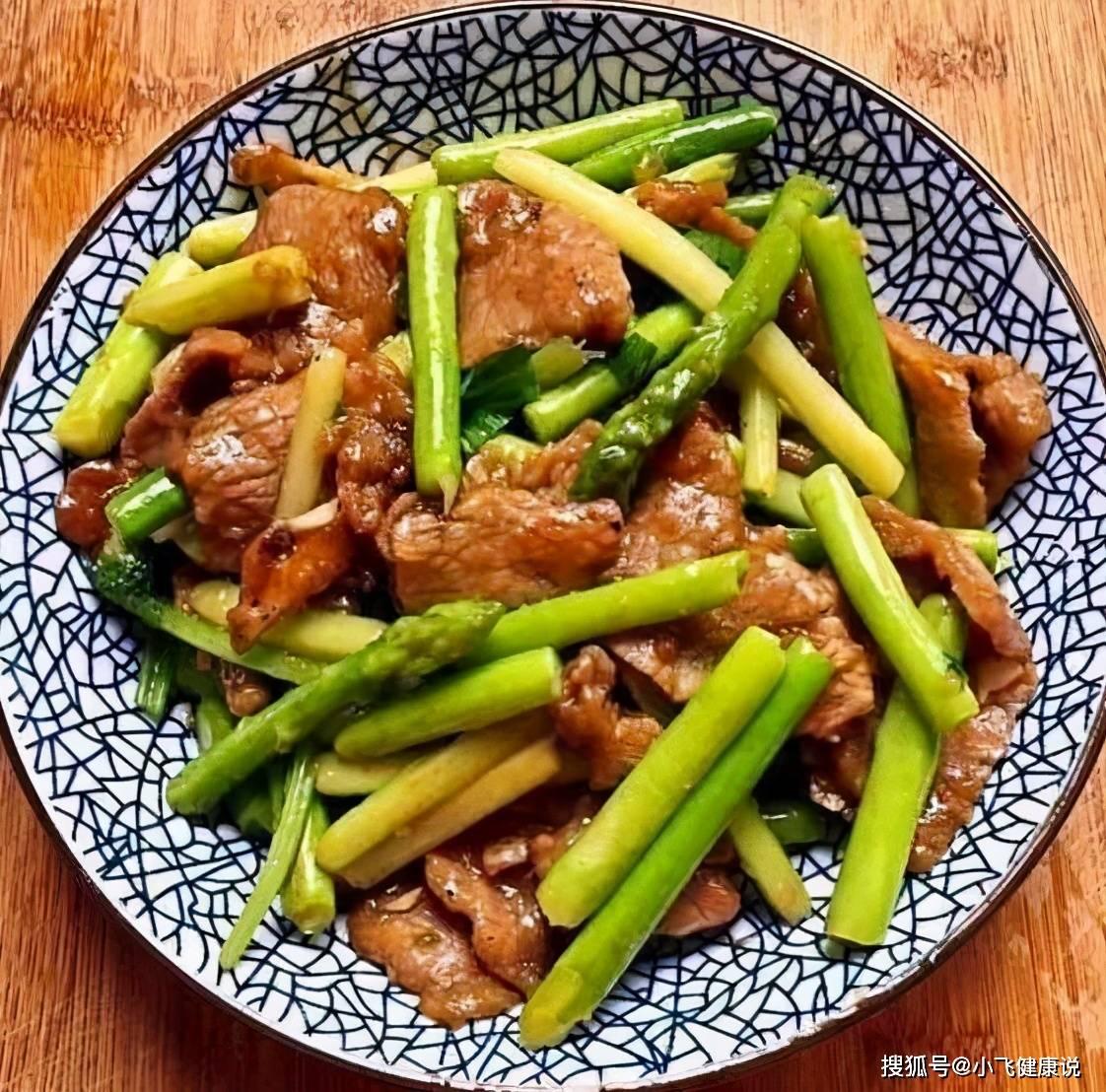 芦笋炒肉的好看图片