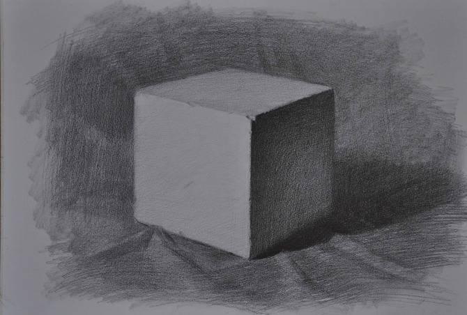 素描石膏像正方体如何画?怎么画好素描正方体? 教学教程-第6张