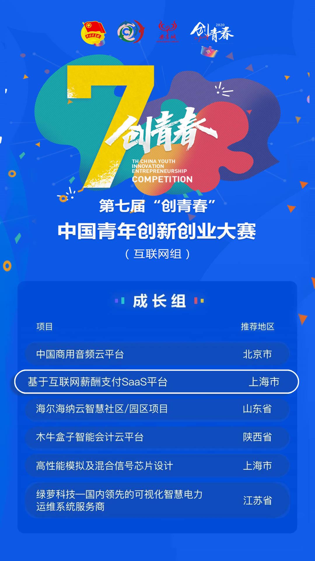 """工资太软,获得第七届""""创造青春""""中国青年创新创业大赛(互联网集团)铜奖"""