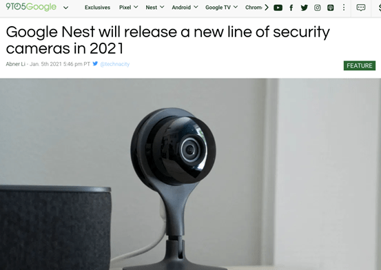 原创             谷歌Nest或发布新系列的安全摄像头