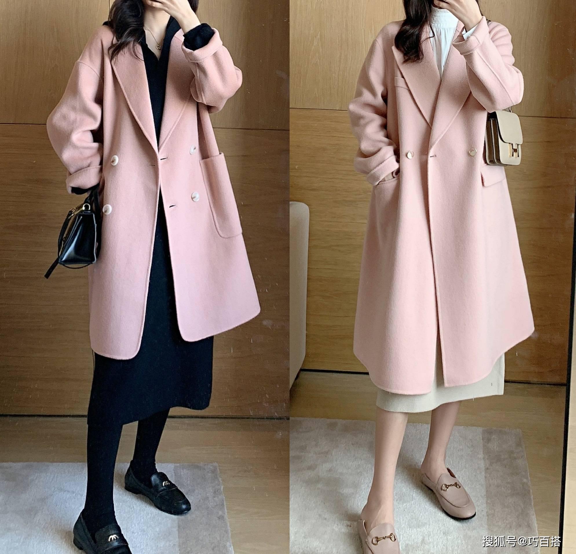 原配美女穿呢子大衣,粉色呢子大衣甜美值得体验