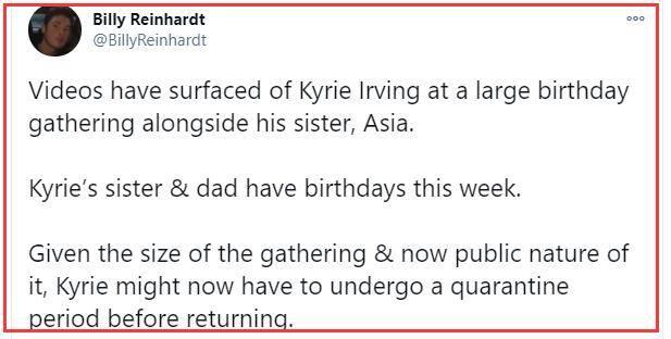 原创             欧文拒绝参赛原因曝光!违规参加聚会,只为给父亲和姐姐庆生?