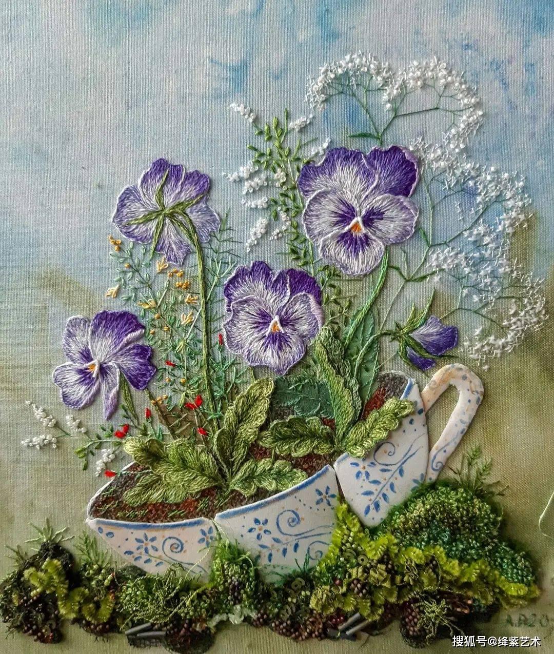 她用拙劣的刺绣技法,创作出堪比大师的作品,好像一幅幅美丽的画_工艺
