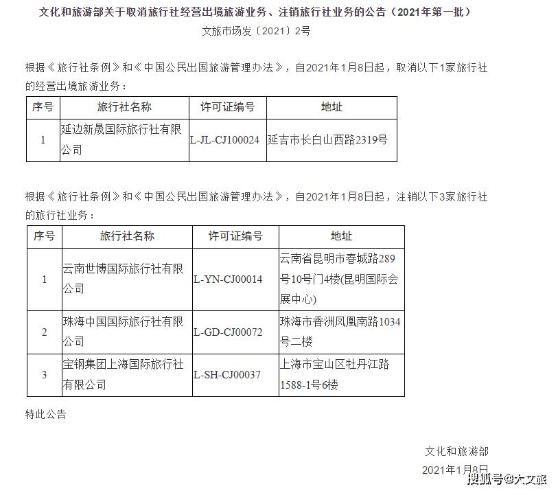 云南世博国际旅行社等3家企业旅行社业务被注销