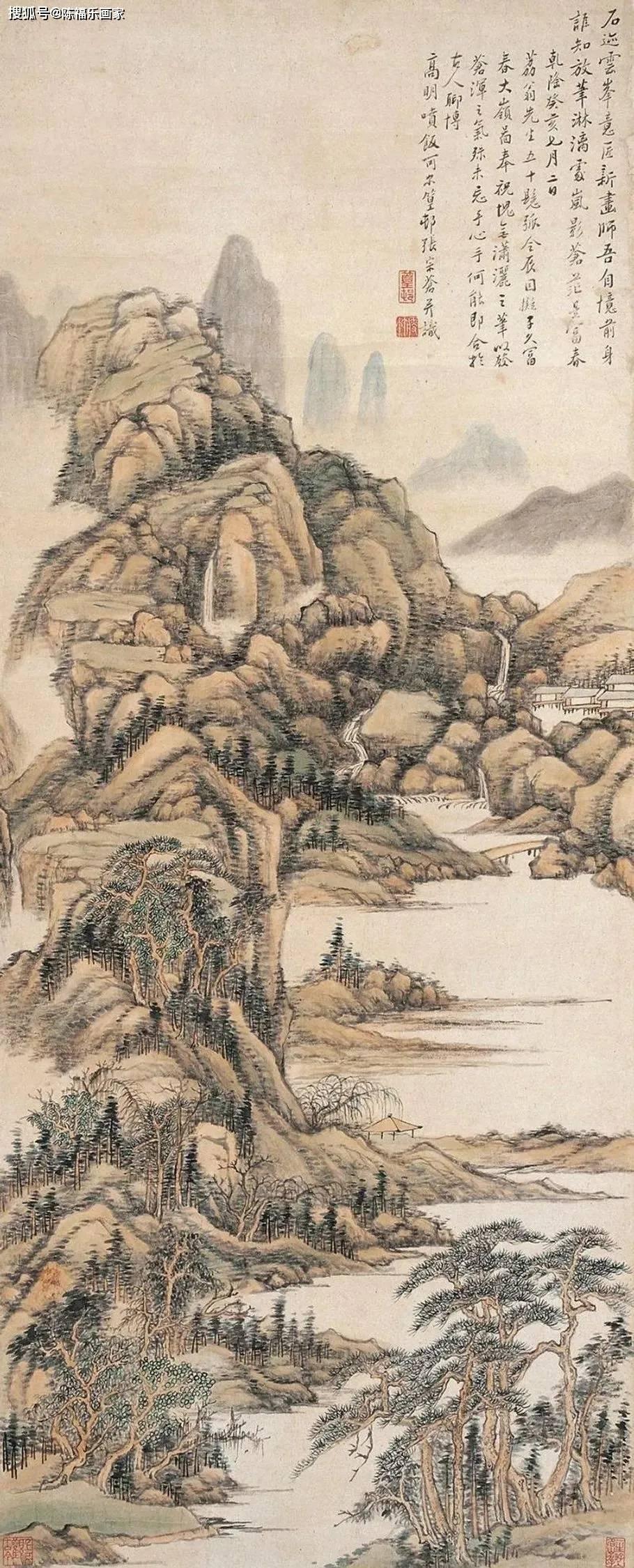 清代宫廷画家张宗苍山水画笔笔蕴含春的气息,清冷又迷人!