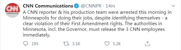 快讯!直播美国骚乱遭警方逮捕的CNN记者已被释放-WordPress极简博客