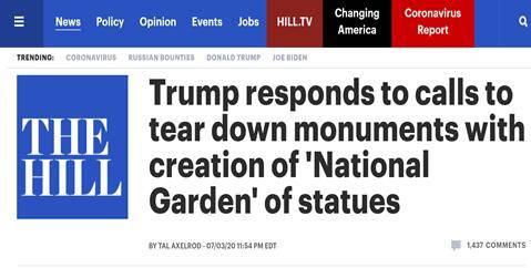 """""""倒像运动""""愈演愈烈,特朗普:我将签令建个""""国家花园"""",专门放雕像"""