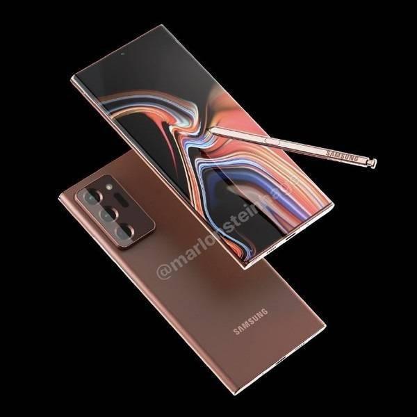 三星Galaxy Note20 Ultra古铜色正面渲染图曝光