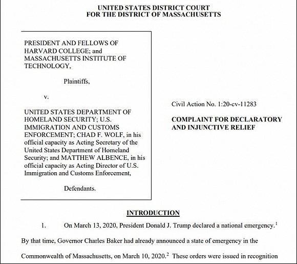 哈佛和麻省理工起诉特朗普政府,称驱逐国际生新政不合法