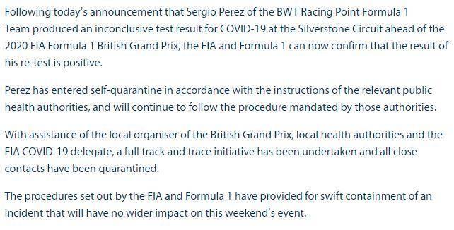 F1车手佩雷兹确诊感染新冠蚍蜉