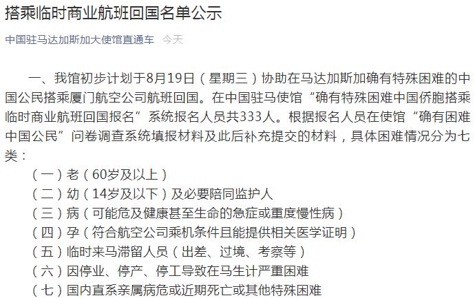 """重要公示!中国大使馆凌晨发布:这个国家333名""""确有特殊困难中国公民""""报名回国,初定233人优先购票"""