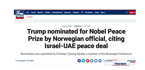 刚刚!特朗普被提名诺贝尔和平奖