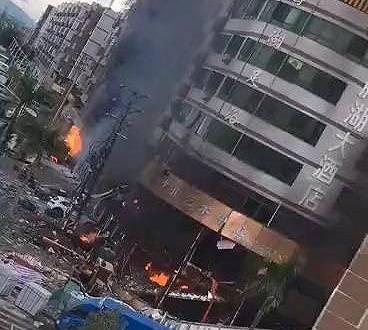 珠海一酒店附近发生爆炸,目击者
