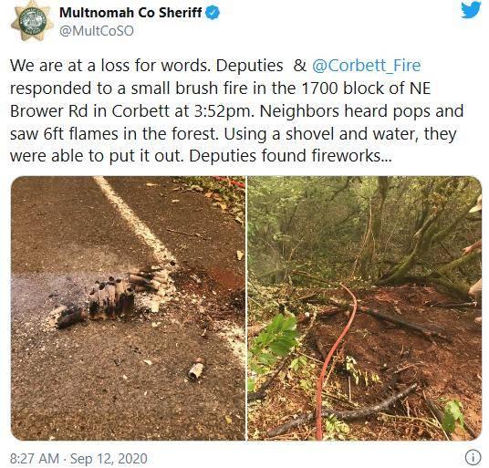 美国俄勒冈州山火是纵火吗?警察在火炉