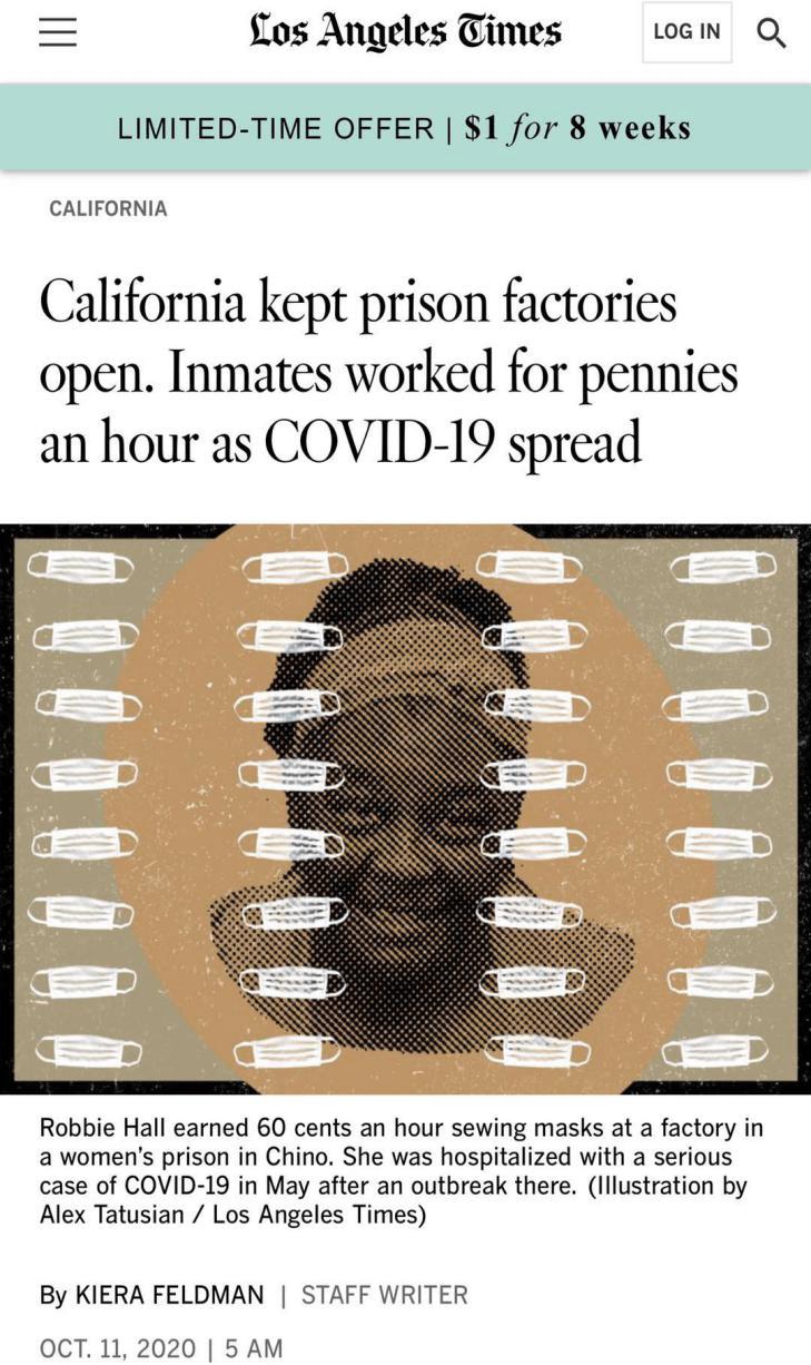 """北美观察丨""""奴隶工厂""""疫情肆虐仍不停工 美国监狱生存状况险恶"""