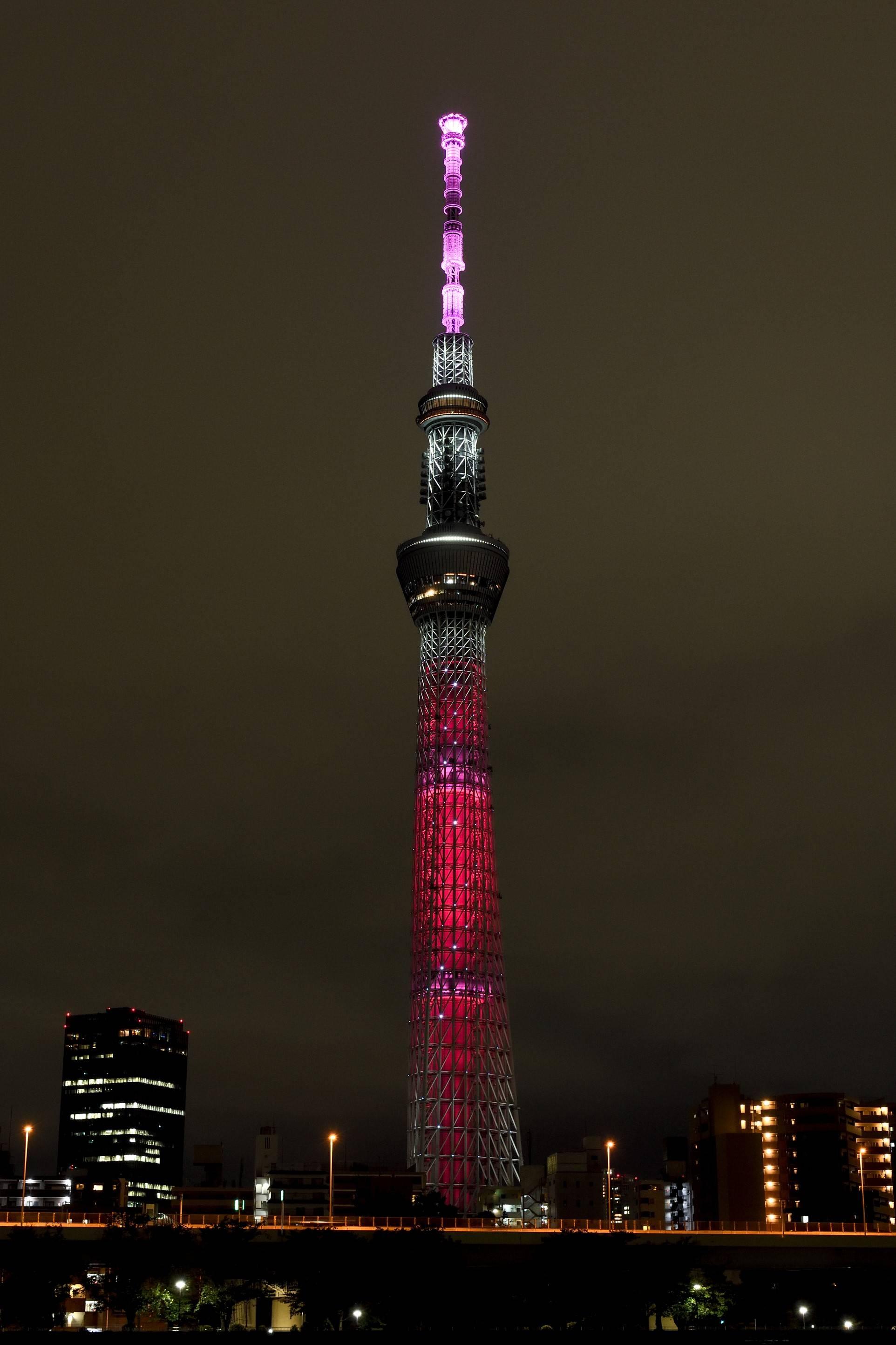 东京晴空塔点亮灯光纪念联合国成立75周年