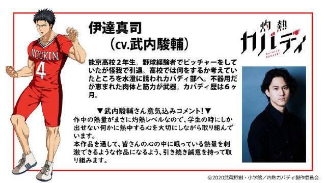 电视动画《灼热卡巴迪》公开追加声优:武内骏辅 配音伊達真司
