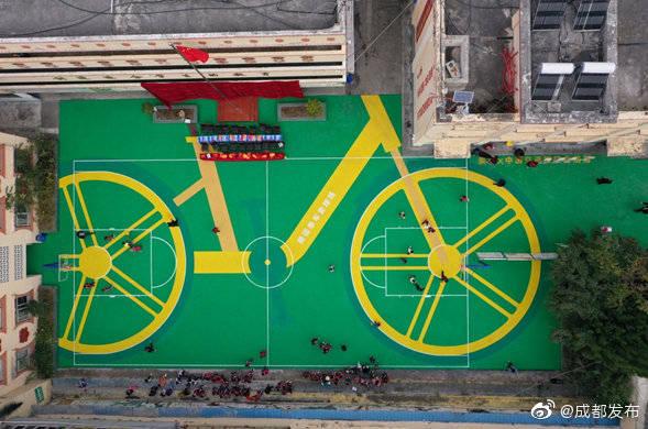 共享单车轮胎变成篮球场
