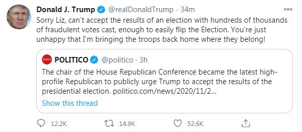 """又被共和党人敦促""""接受选举结果"""",特朗普发推回应:抱歉,我不能"""