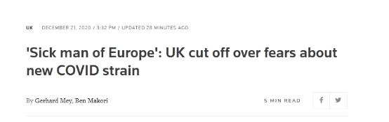 """被30多国限制交通,英国媒体对自己真狠,连""""欧洲病夫""""都用上了!"""