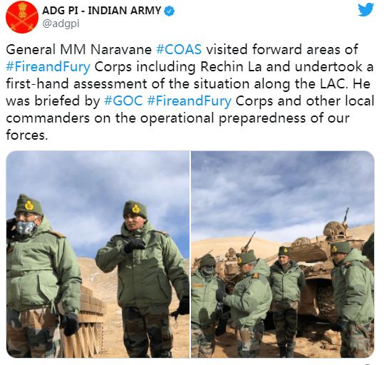 印媒:中印对峙之际,印度陆军参谋长又去前线视察军队