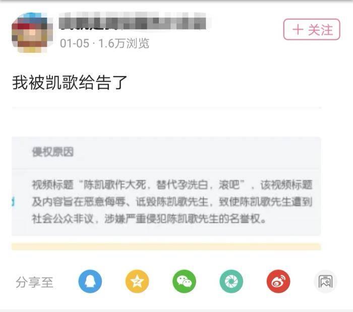 陈凯歌举报up主吐槽视频 玻璃心还是正常维权?