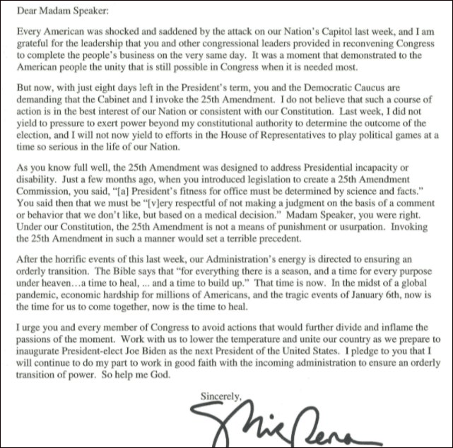 彭斯致信佩洛西:拒绝援引美国宪法第25修正案罢免特朗普
