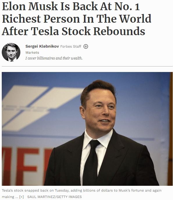 """新能源汽车股""""真香""""!特斯拉大涨4.7%,马斯克再度超越贝佐斯,登顶全球第一大富豪!"""