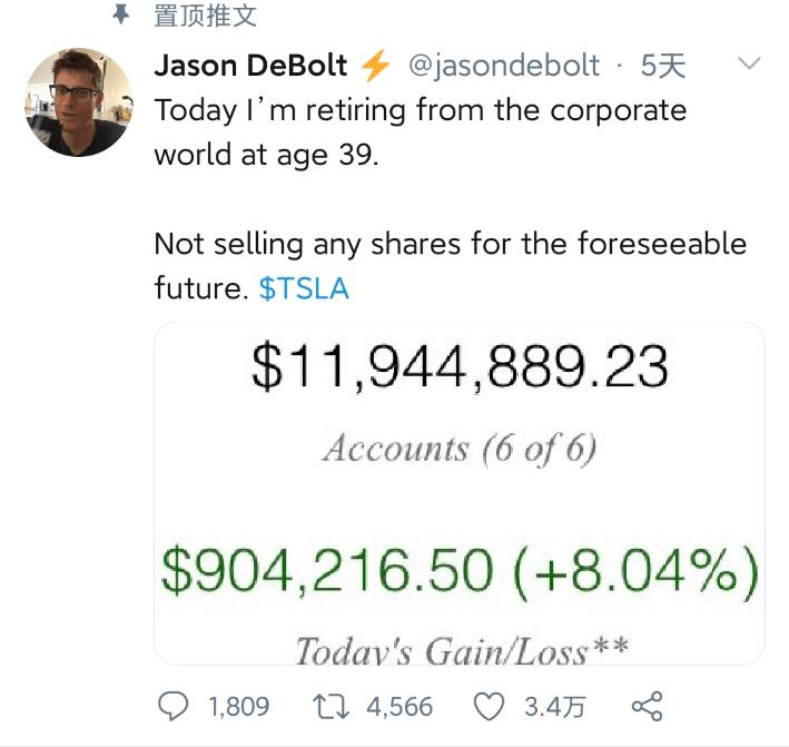 狂揽7800万!亚马逊员工炒特斯拉股票成富豪,39岁宣布退休