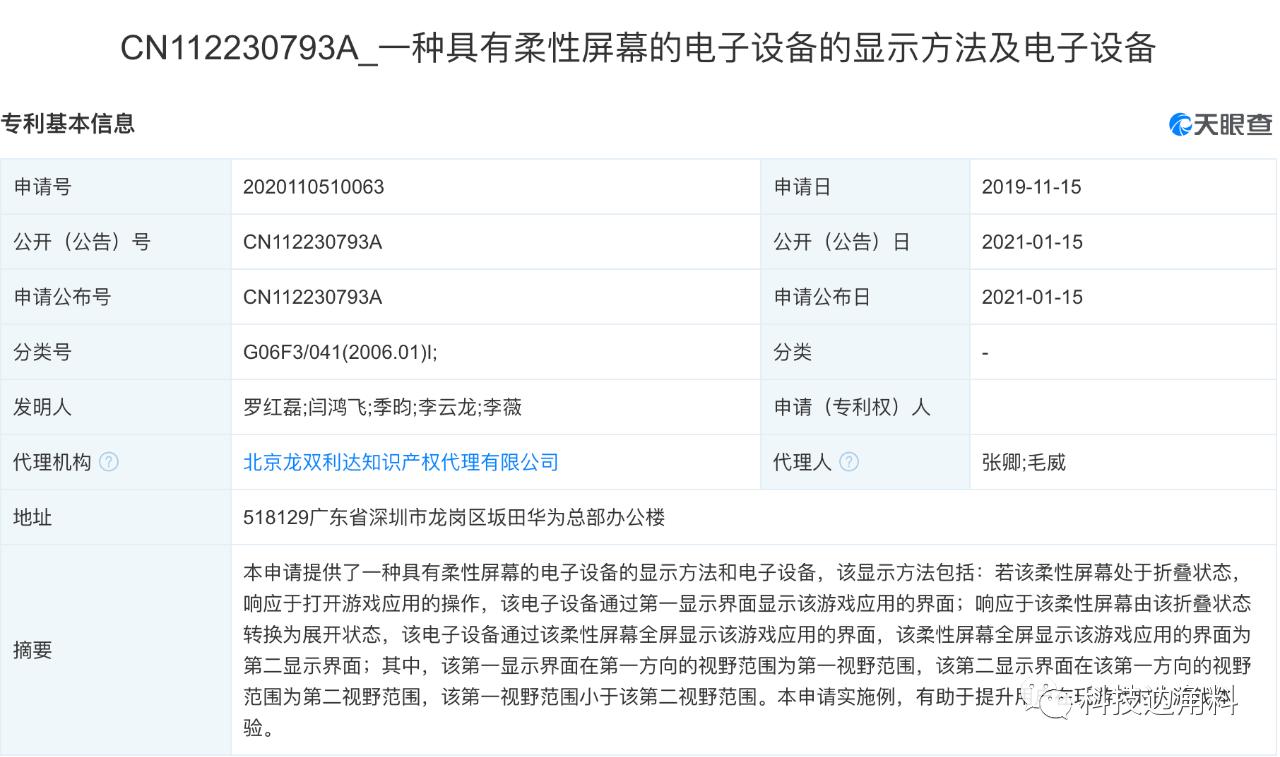 华为公开柔性屏幕显示方法及电子设备专利