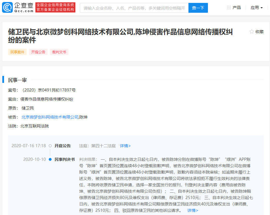 陈坤被判《月海如梦》图片侵权 需登载48小时致歉声明