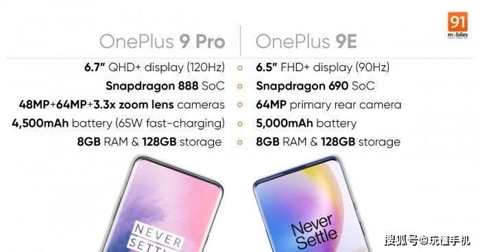 一加OnePlus 9Pro/9E 规格曝光:配6400万像素摄像头和大电池