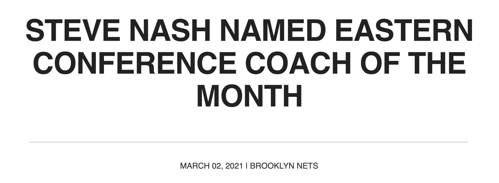 原创             篮网三喜临门!纳什当选月最佳教练,哈登获月最佳+火箭老板承诺